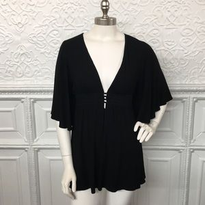 Bailey 44 Black Button Front Loose Tunic